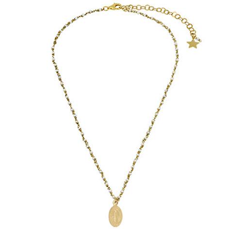 collana rosario oro perline bianche madonnina oro mias vintage