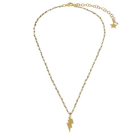 collana rosario oro perline bianche saetta