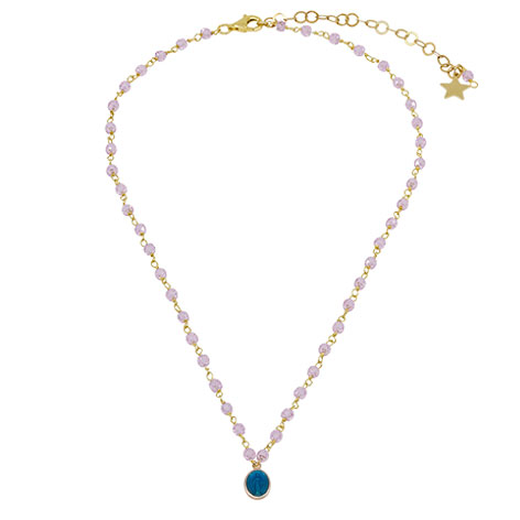 collana rosario oro cristalli rosa madonnina smaltata blu mias vintage