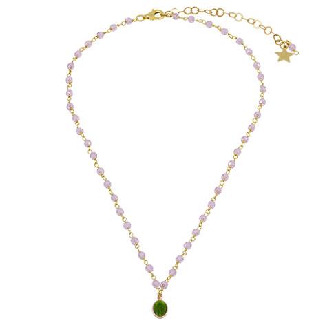 collana rosario rosa oro madonnina verde smaltata mias vintage