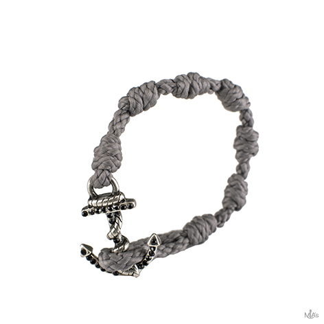 bracciale black diamonds grigio chiaro ancora argento