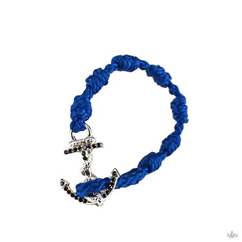 bracciale black diamonds blu elettrico ancora argento
