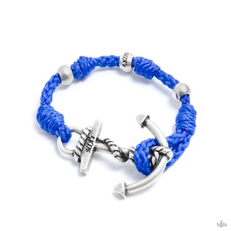bracciale love boat blu elettrico ancora argento