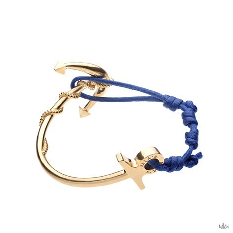 bracciale ancora oro semi rigido blu elettrico