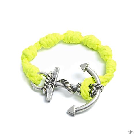 bracciale semplicemente giallo fluo ancora argento