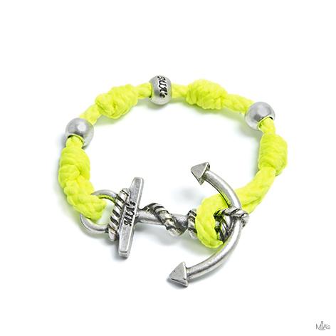 bracciale love boat giallo fluo ancora argento