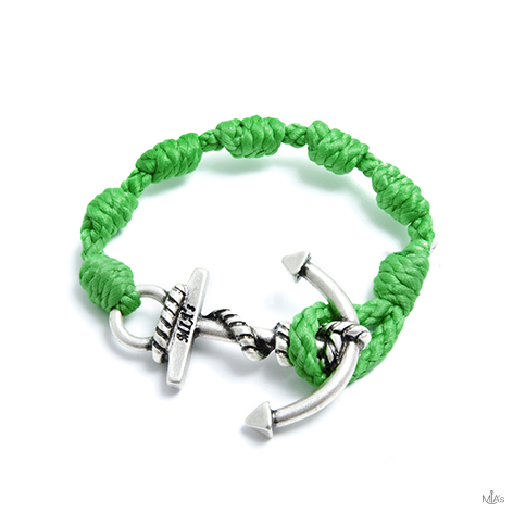 bracciale semplicemente verde ancora argento