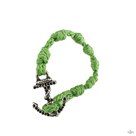 bracciale black diamonds verde ancora argento