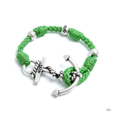 bracciale love boat verde ancora argento