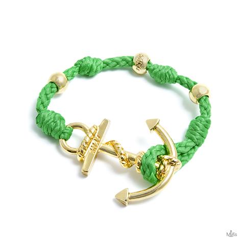 bracciale love boat verde ancora oro