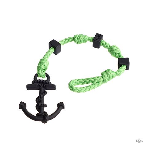 bracciale square verde ancora nera