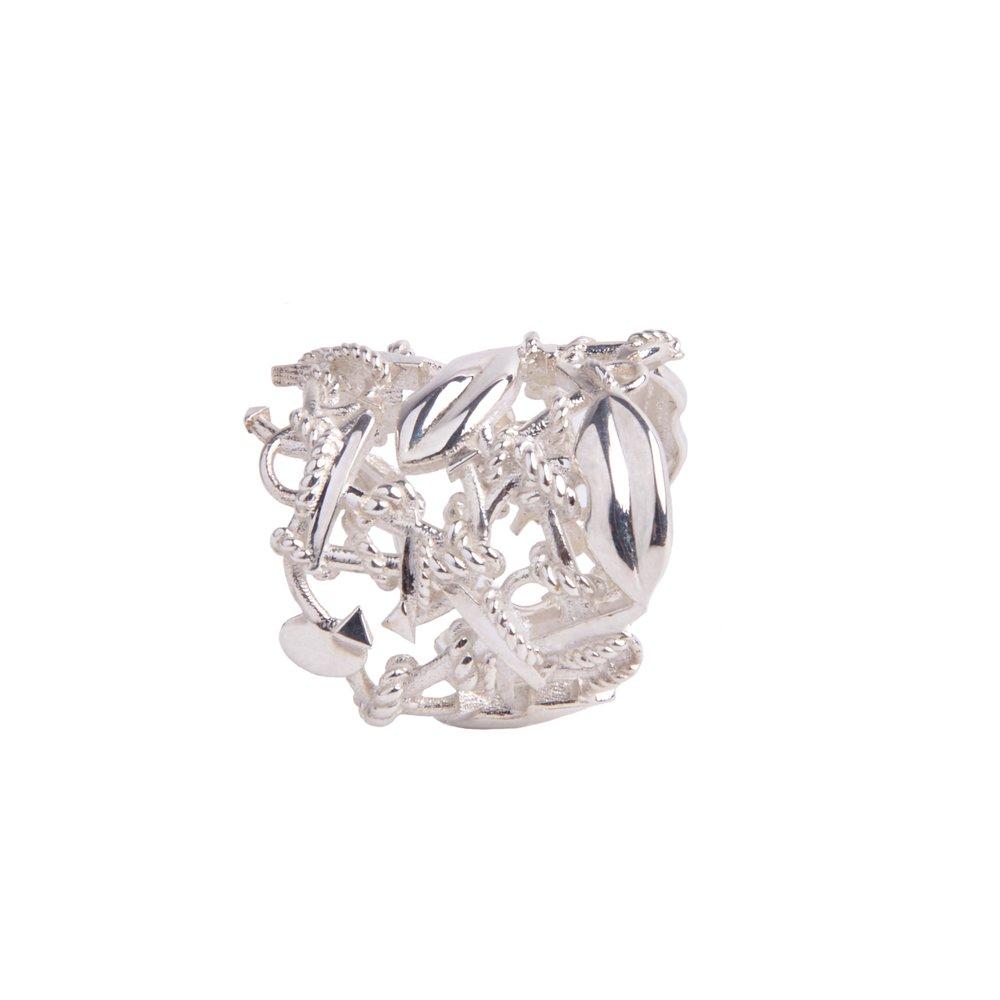 anello a fascia argento mini love