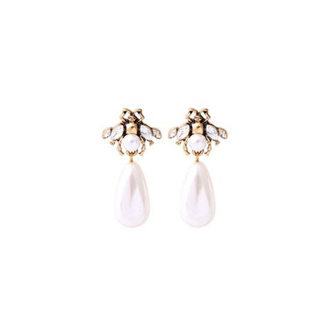 orecchini api bianche perla pendente