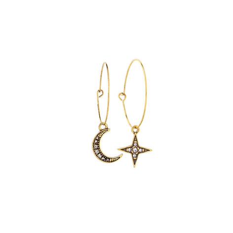 orecchini cerchi oro con pendente luna e stella mias vintage