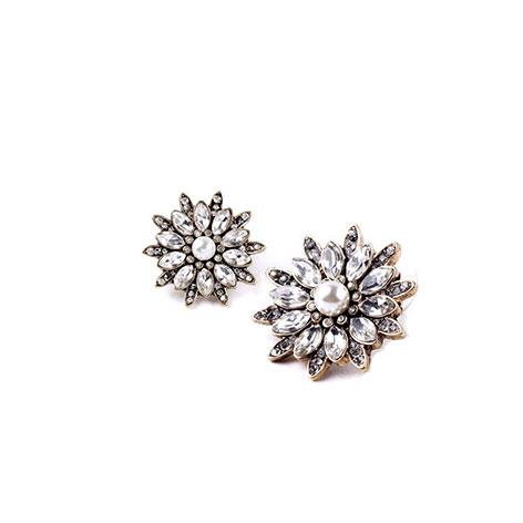 orecchini fiori bianchi cristalli e perla mias vintage