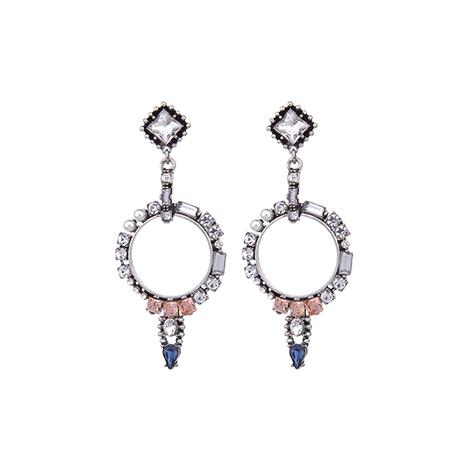orecchini pendenti cristalli blu e rosa
