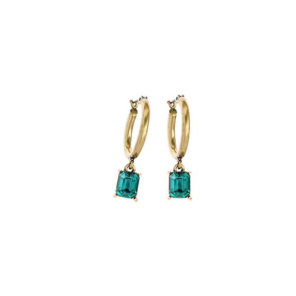 orecchini cerchi oro pendente verde