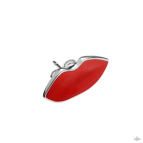 orecchino argento bocca rossa