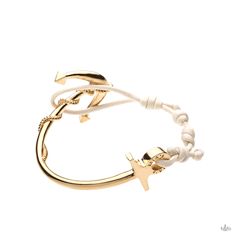 bracciale ancora oro semi rigido beige