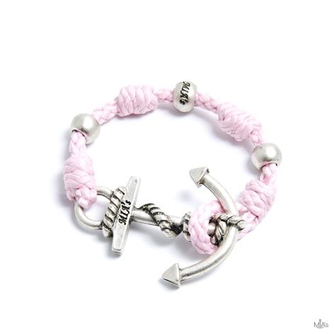 bracciale love boat rosa ancora argento