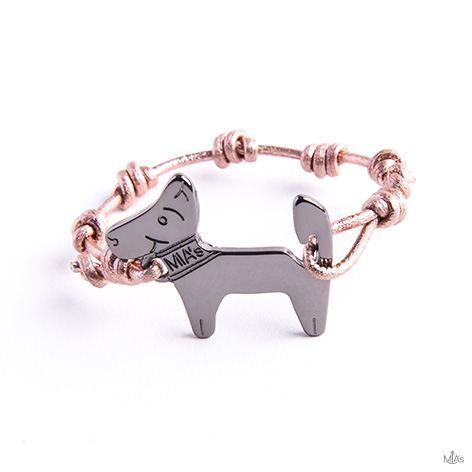 bracciale pink metal dog rutenio