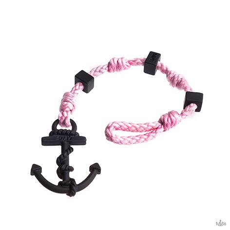 bracciale square rosa ancora nera