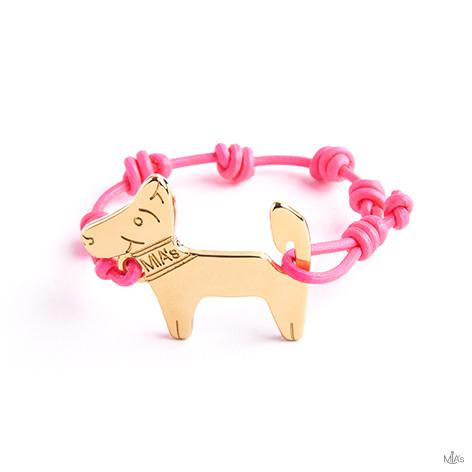 bracciale rosa fluo dog oro