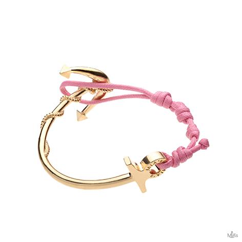 bracciale ancora oro semi rigido rosa