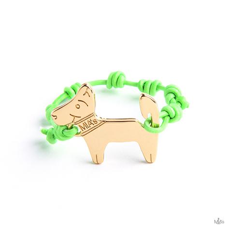 bracciale verde fluo dog oro